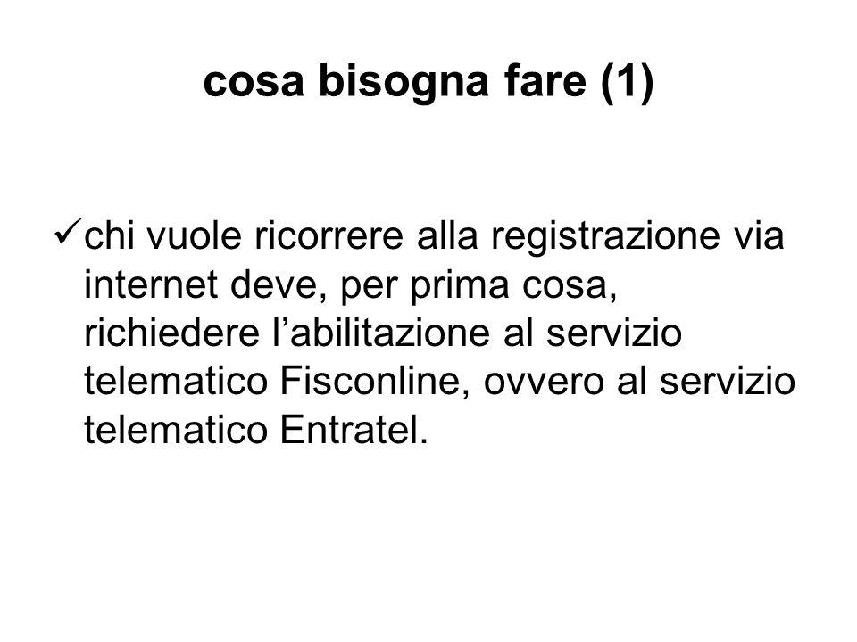 cosa bisogna fare (1) chi vuole ricorrere alla registrazione via internet deve, per prima cosa, richiedere labilitazione al servizio telematico Fiscon