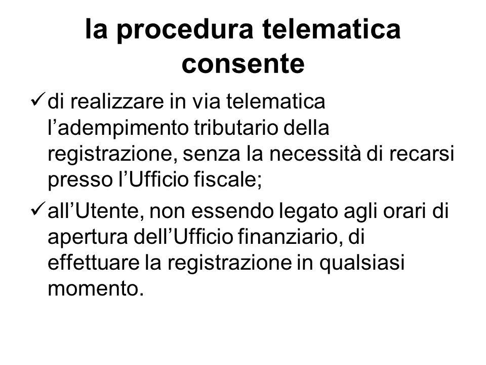 la procedura telematica consente di realizzare in via telematica ladempimento tributario della registrazione, senza la necessità di recarsi presso lUf