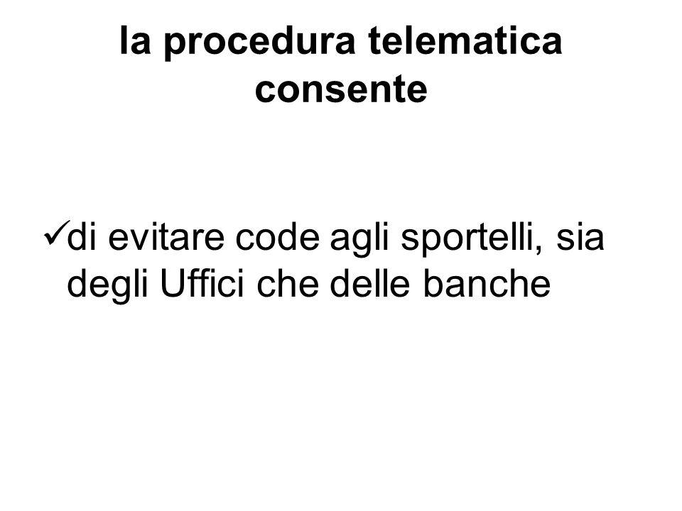 la procedura telematica consente di evitare code agli sportelli, sia degli Uffici che delle banche