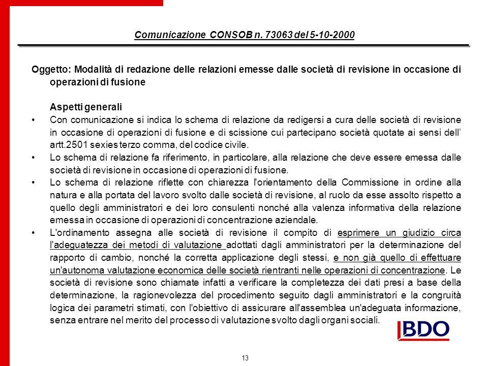 13 Comunicazione CONSOB n.