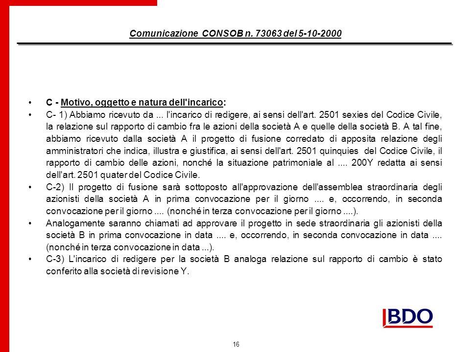 16 Comunicazione CONSOB n.