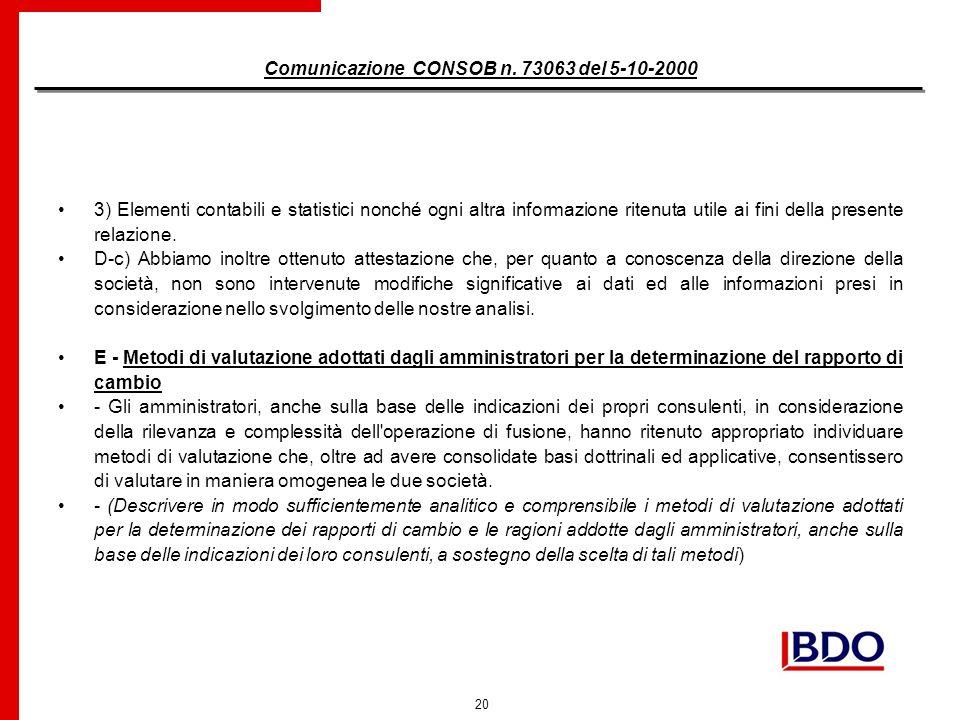 20 Comunicazione CONSOB n.