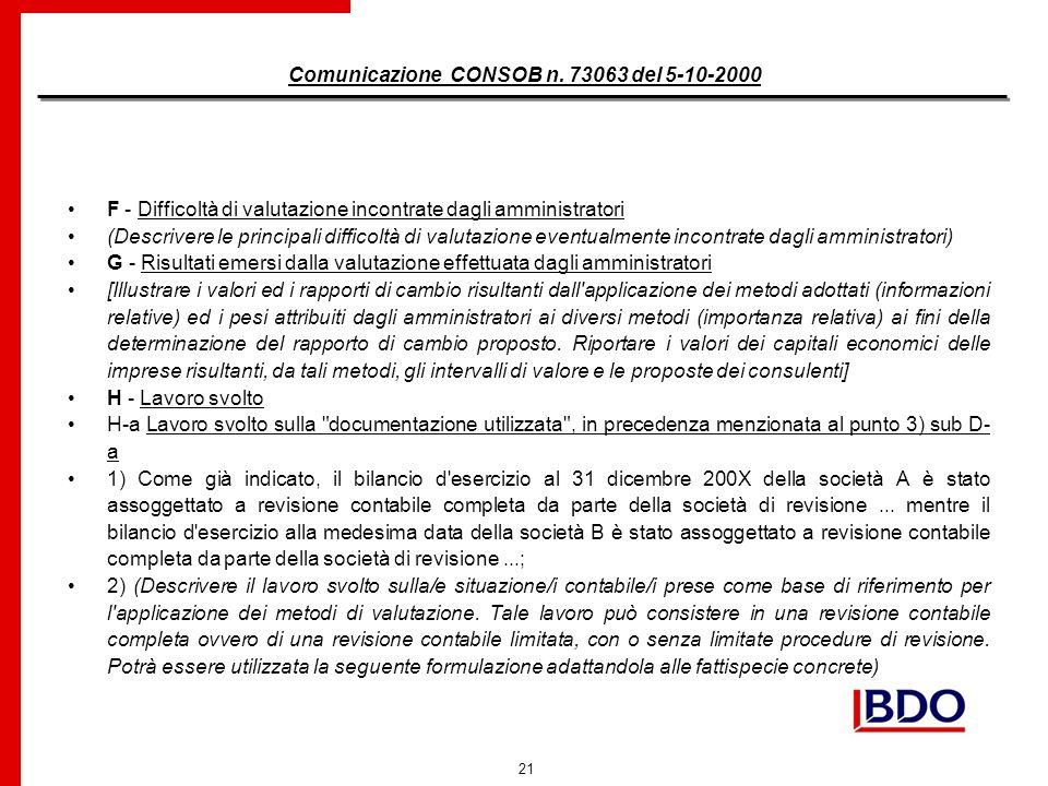 21 Comunicazione CONSOB n.