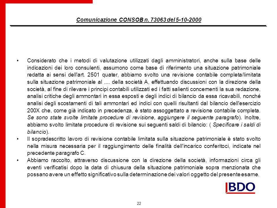 22 Comunicazione CONSOB n.