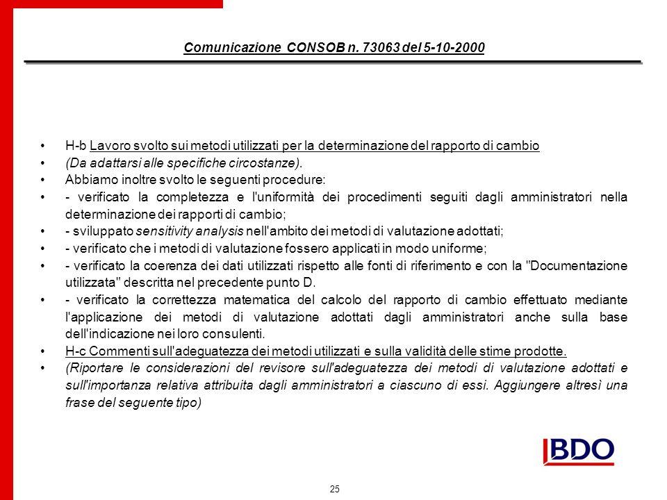25 Comunicazione CONSOB n.