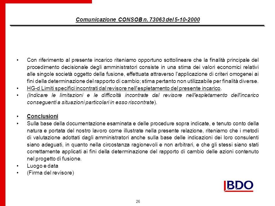 26 Comunicazione CONSOB n.