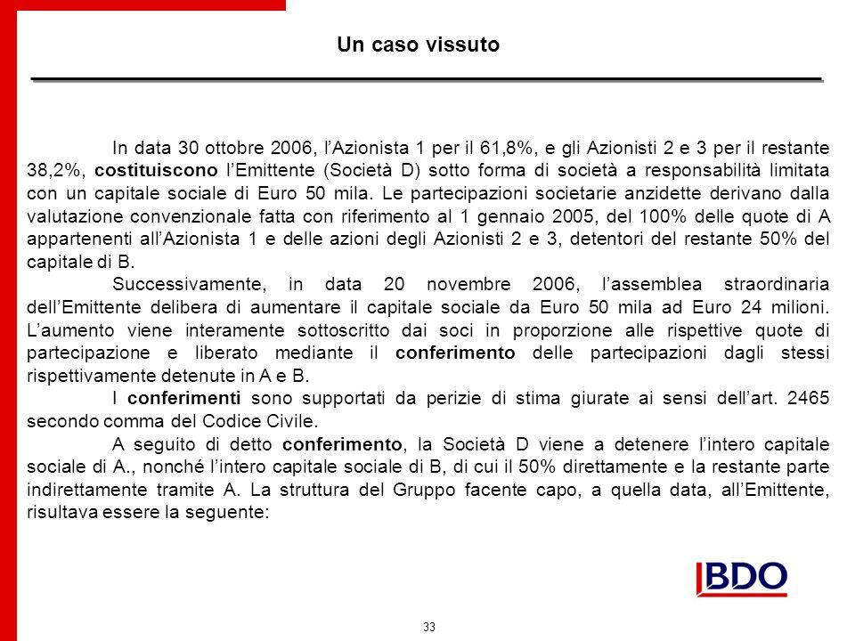 33 Un caso vissuto In data 30 ottobre 2006, lAzionista 1 per il 61,8%, e gli Azionisti 2 e 3 per il restante 38,2%, costituiscono lEmittente (Società D) sotto forma di società a responsabilità limitata con un capitale sociale di Euro 50 mila.