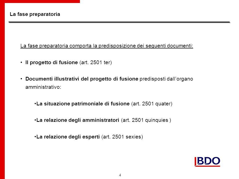 4 La fase preparatoria La fase preparatoria comporta la predisposizione dei seguenti documenti: Il progetto di fusione (art.