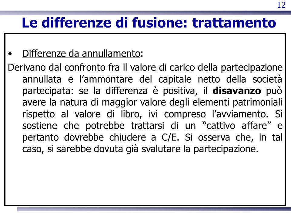 12 Le differenze di fusione: trattamento Differenze da annullamento: Derivano dal confronto fra il valore di carico della partecipazione annullata e l