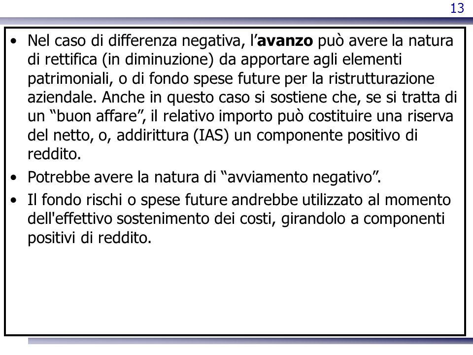 13 Nel caso di differenza negativa, lavanzo può avere la natura di rettifica (in diminuzione) da apportare agli elementi patrimoniali, o di fondo spes