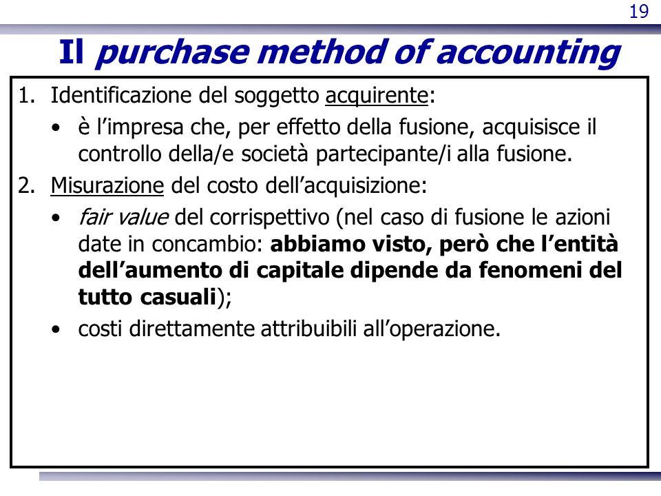 19 Il purchase method of accounting 1.Identificazione del soggetto acquirente: è limpresa che, per effetto della fusione, acquisisce il controllo dell