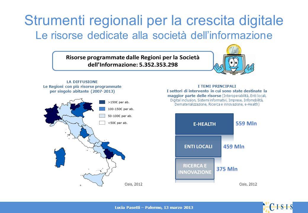 Lucia Pasetti – Palermo, 13 marzo 2013 Strumenti regionali per la crescita digitale Le risorse dedicate alla società dellinformazione Nel 2007-2013 circa 5,3 miliardi sono programmati in interventi per la società dellinformazione, tra risorse regionali, nazionali e comunitarie.