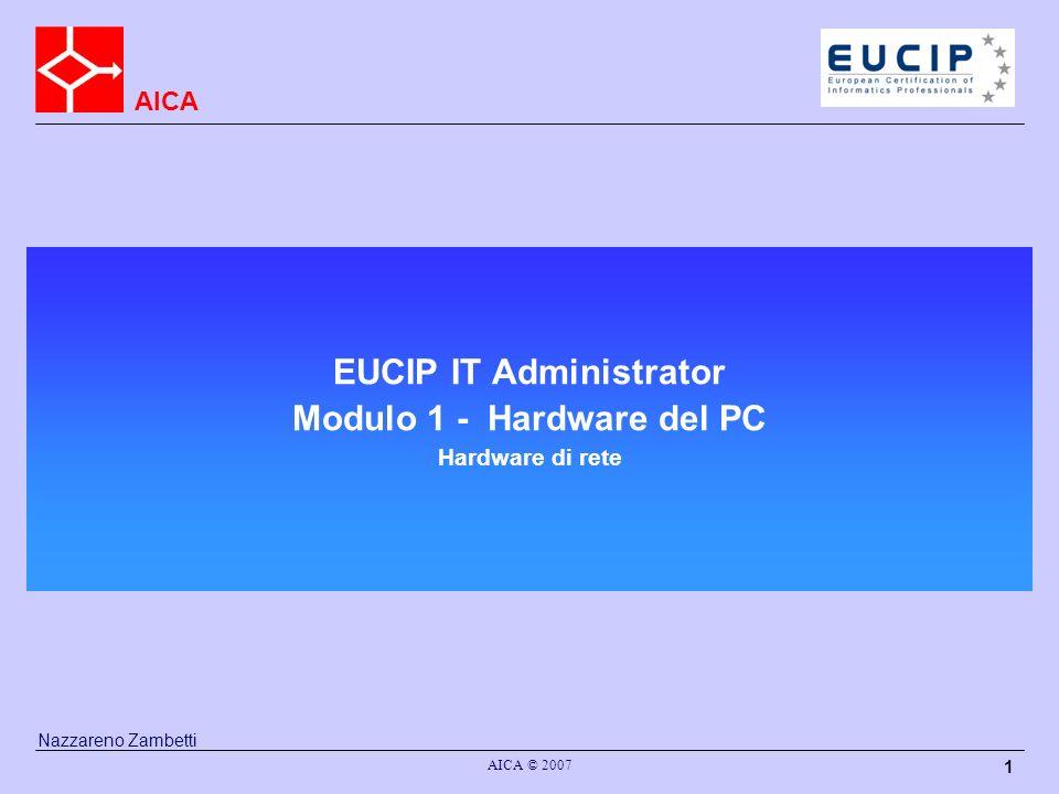 AICA AICA © 2007 1 EUCIP IT Administrator Modulo 1 - Hardware del PC Hardware di rete Nazzareno Zambetti