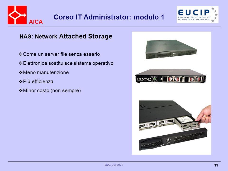 AICA AICA © 2007 11 NAS: Network Attached Storage Come un server file senza esserlo Elettronica sostituisce sistema operativo Meno manutenzione Più ef