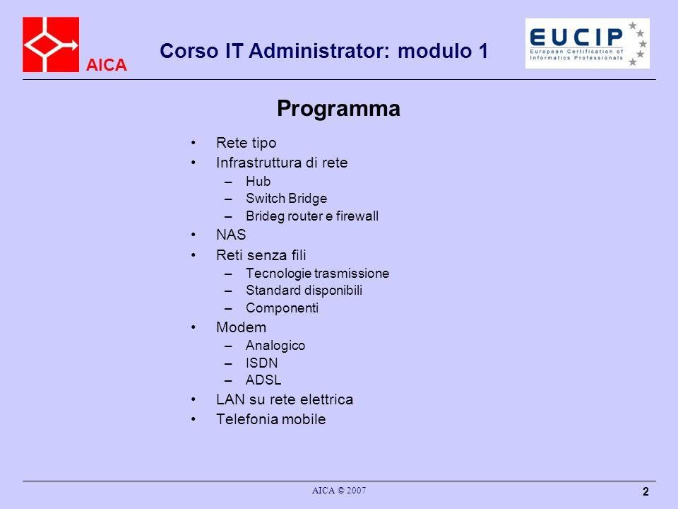 AICA AICA © 2007 3 Classificazione LAN MAN WAN Terminologia Computer = Nodi Mezzi di connessione = Cavi/Onde radio Scopo Condividere dati (file, database, informazioni..) Condividere risorse (periferiche, connessioni, …) Corso IT Administrator: modulo 1