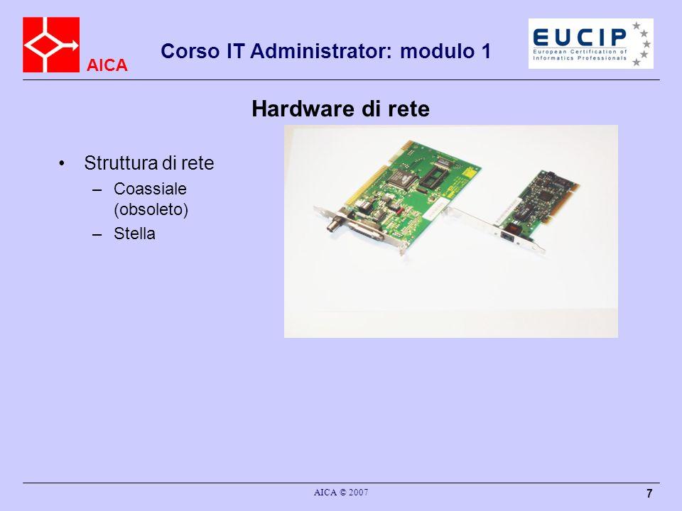 AICA AICA © 2007 8 Corso IT Administrator: modulo 1 Esempi di rete Scheda di rete HUB/Switch Access Point Firewall Router Client/server Accessori (stampanti, scanner, fax..)