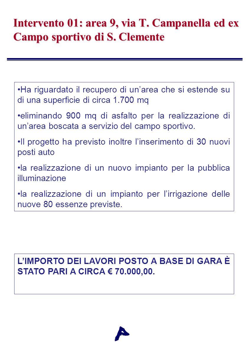 Intervento 01: area 9, via T. Campanella ed ex Campo sportivo di S.