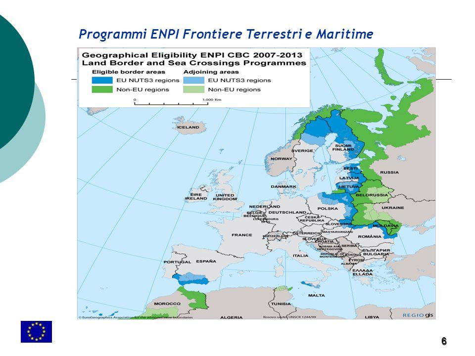 6 Programmi ENPI Frontiere Terrestri e Maritime