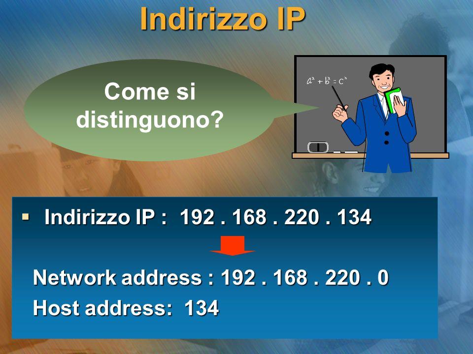 Indirizzo IP Come si distinguono? Indirizzo IP : 192. 168. 220. 134 Indirizzo IP : 192. 168. 220. 134 Network address : 192. 168. 220. 0 Network addre