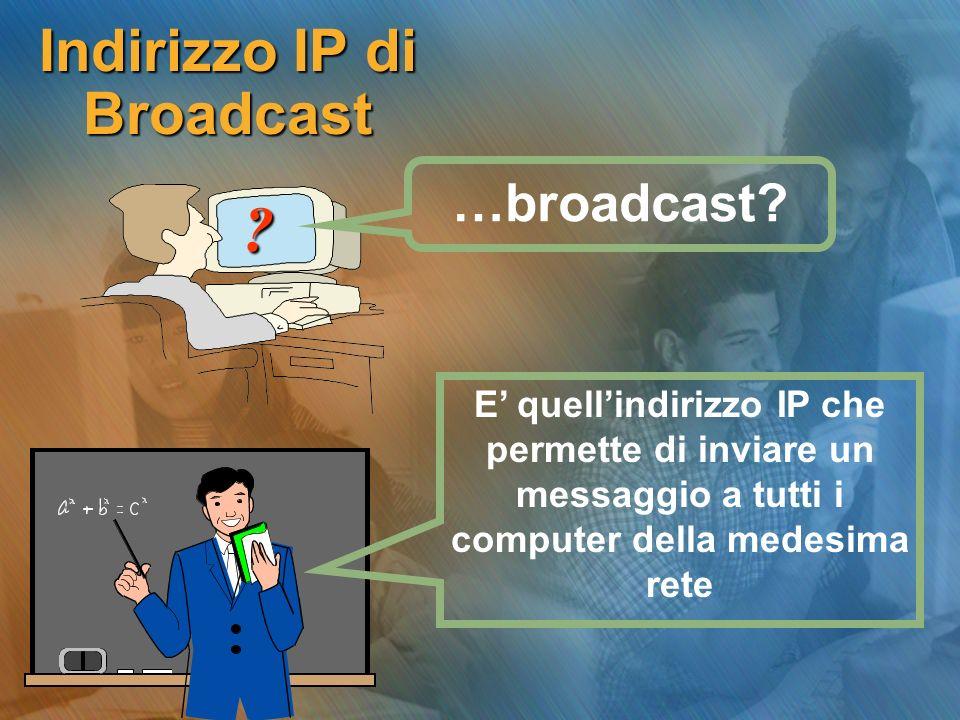 Indirizzo IP di Broadcast ? E quellindirizzo IP che permette di inviare un messaggio a tutti i computer della medesima rete …broadcast?