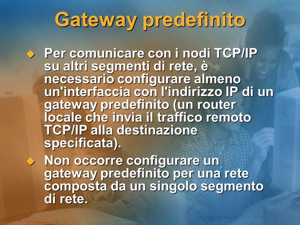 Gateway predefinito Per comunicare con i nodi TCP/IP su altri segmenti di rete, è necessario configurare almeno un'interfaccia con l'indirizzo IP di u