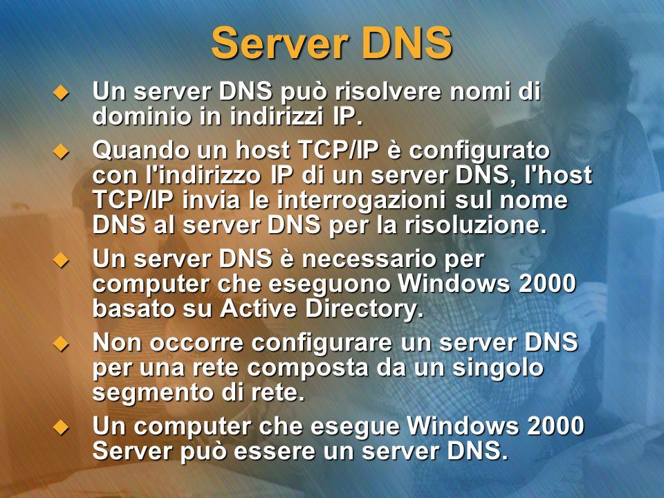 Server DNS Un server DNS può risolvere nomi di dominio in indirizzi IP. Un server DNS può risolvere nomi di dominio in indirizzi IP. Quando un host TC
