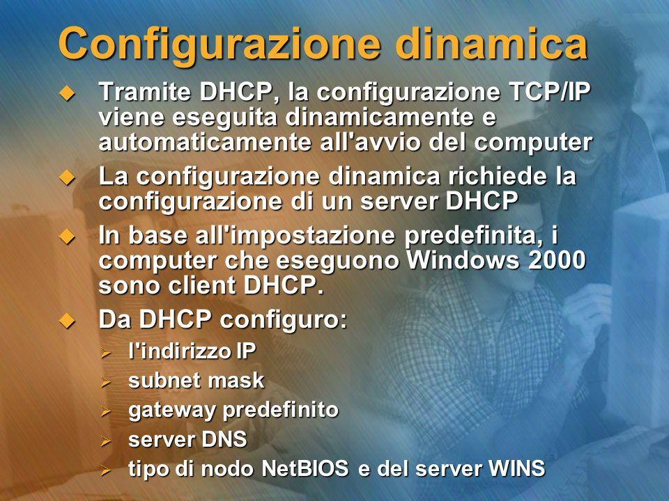 Configurazione dinamica Tramite DHCP, la configurazione TCP/IP viene eseguita dinamicamente e automaticamente all'avvio del computer Tramite DHCP, la