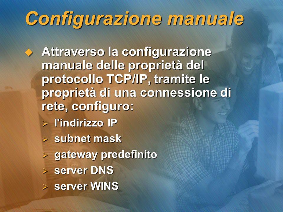 Configurazione manuale Attraverso la configurazione manuale delle proprietà del protocollo TCP/IP, tramite le proprietà di una connessione di rete, co