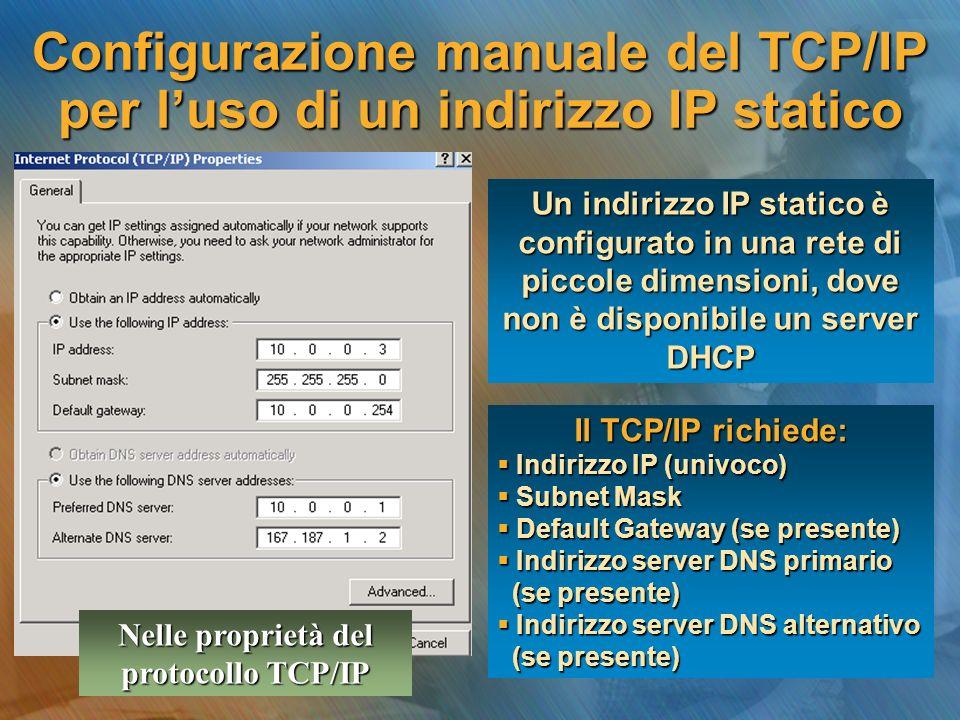Configurazione manuale del TCP/IP per luso di un indirizzo IP statico Un indirizzo IP statico è configurato in una rete di piccole dimensioni, dove no