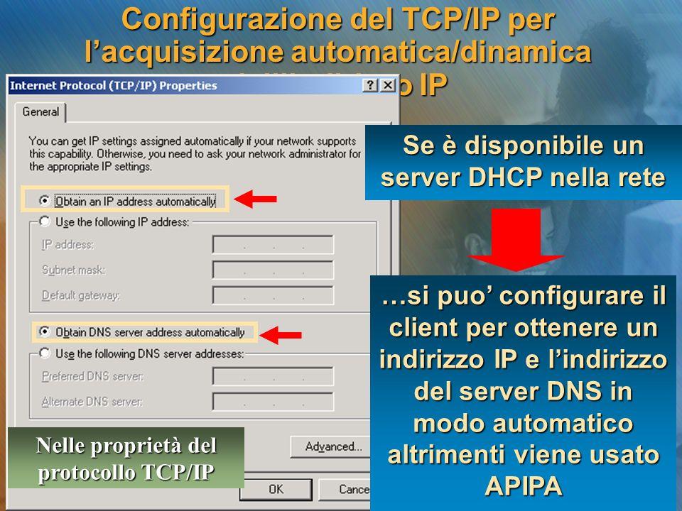 Configurazione del TCP/IP per lacquisizione automatica/dinamica dellindirizzo IP …si puo configurare il client per ottenere un indirizzo IP e lindiriz
