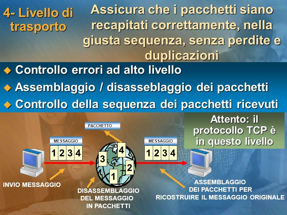 Attento: il protocollo TCP è in questo livello 4- Livello di trasporto Assicura che i pacchetti siano recapitati correttamente, nella giusta sequenza,