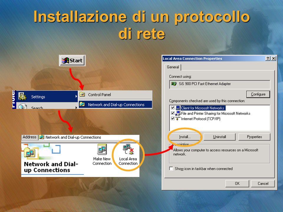 Installazione di un protocollo di rete
