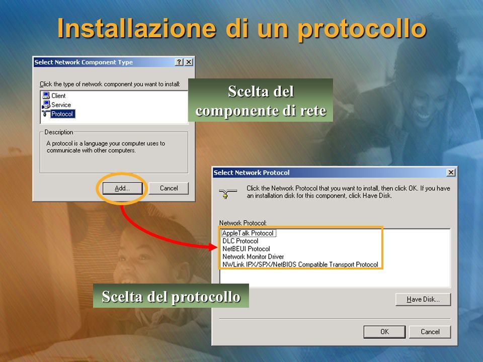 Installazione di un protocollo Scelta del componente di rete Scelta del protocollo