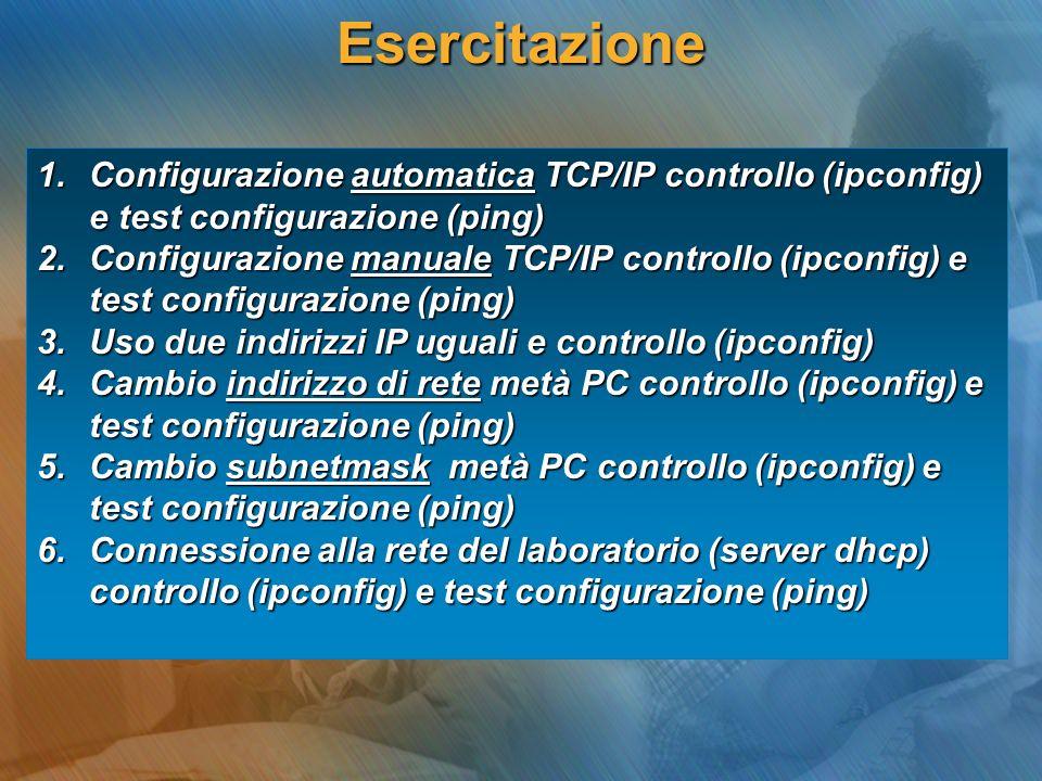 Esercitazione 1.Configurazione automatica TCP/IP controllo (ipconfig) e test configurazione (ping) 2.Configurazione manuale TCP/IP controllo (ipconfig