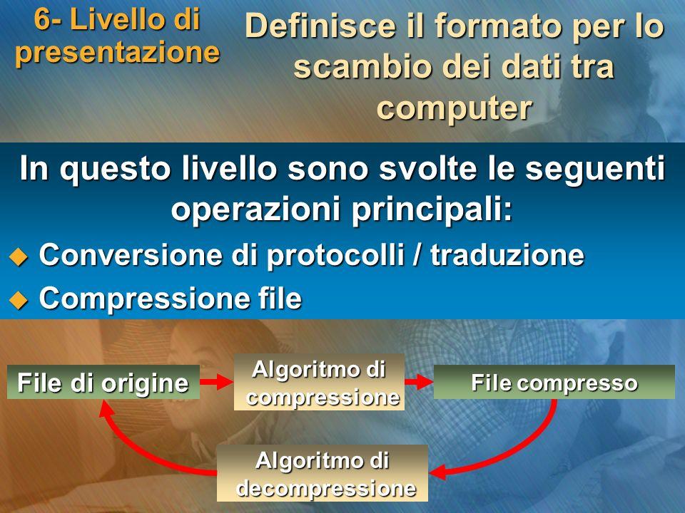 6- Livello di presentazione In questo livello sono svolte le seguenti operazioni principali: Conversione di protocolli / traduzione Conversione di pro