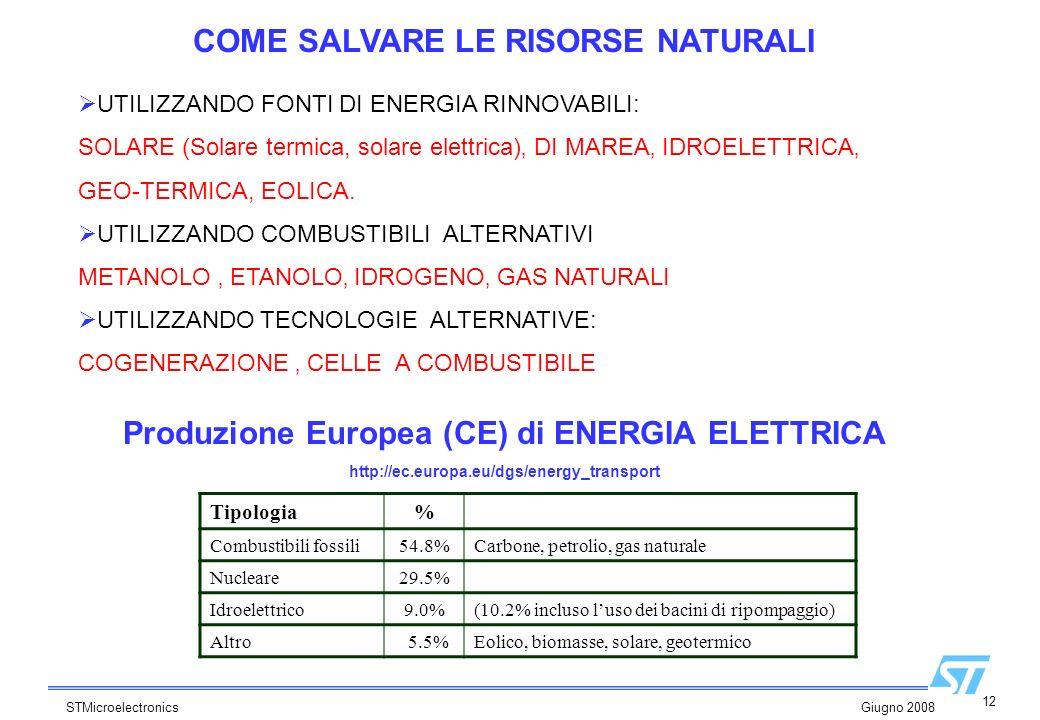 12 STMicroelectronics Giugno 2008 Produzione Europea (CE) di ENERGIA ELETTRICA http://ec.europa.eu/dgs/energy_transport UTILIZZANDO FONTI DI ENERGIA R
