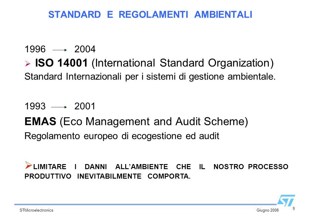 9 STMicroelectronics Giugno 2008 STANDARD E REGOLAMENTI AMBIENTALI 1993 2001 EMAS (Eco Management and Audit Scheme) Regolamento europeo di ecogestione