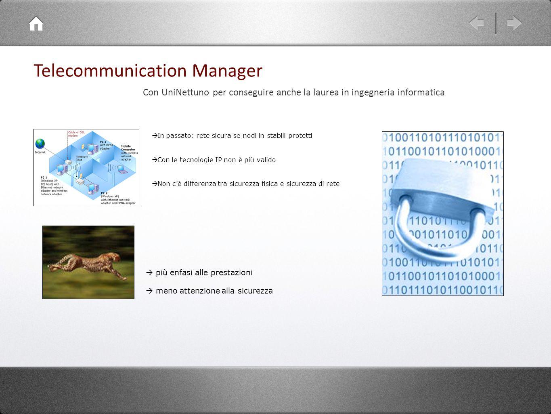 Telecommunication Manager In passato: rete sicura se nodi in stabili protetti Con le tecnologie IP non è più valido Non cè differenza tra sicurezza fi