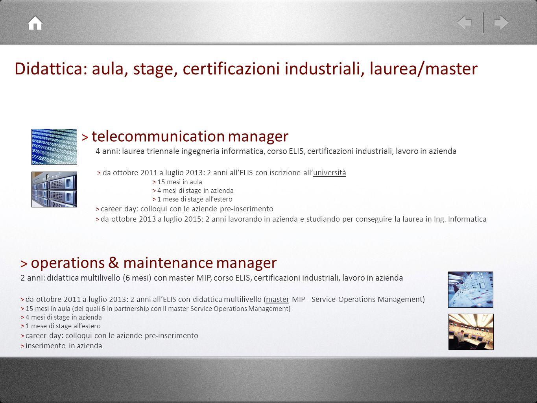 Didattica: aula, stage, certificazioni industriali, laurea/master > operations & maintenance manager 2 anni: didattica multilivello (6 mesi) con maste