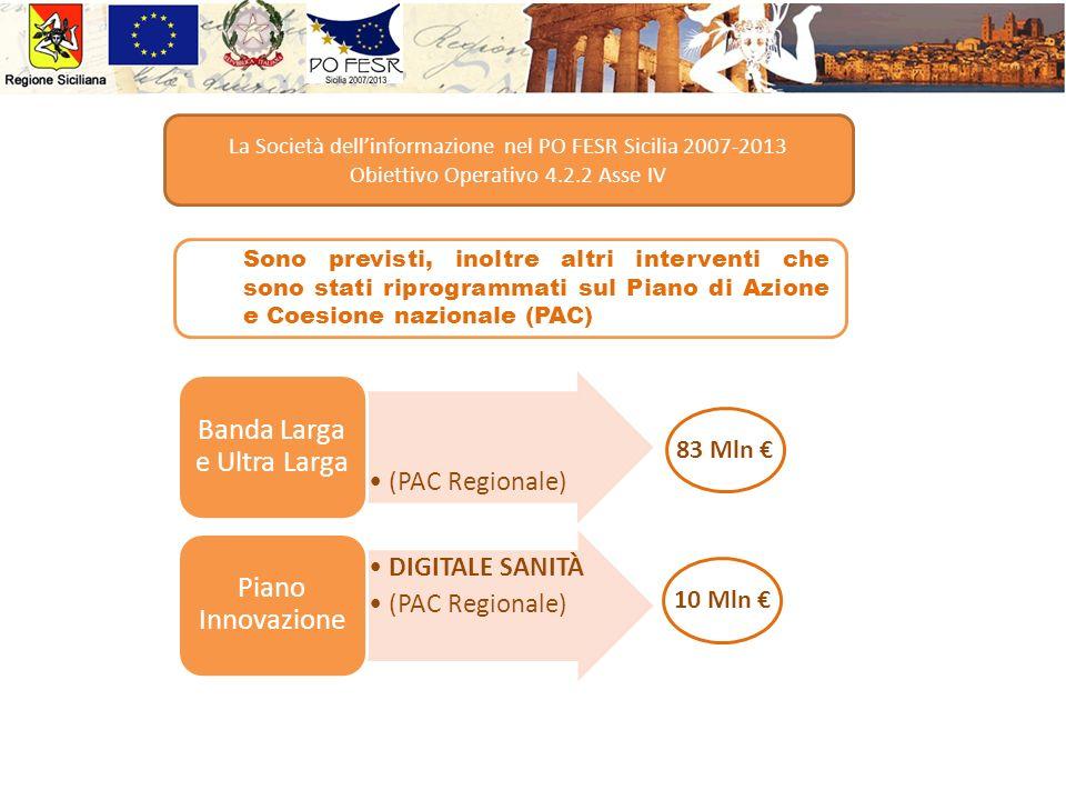Sono previsti, inoltre altri interventi che sono stati riprogrammati sul Piano di Azione e Coesione nazionale (PAC) La Società dellinformazione nel PO