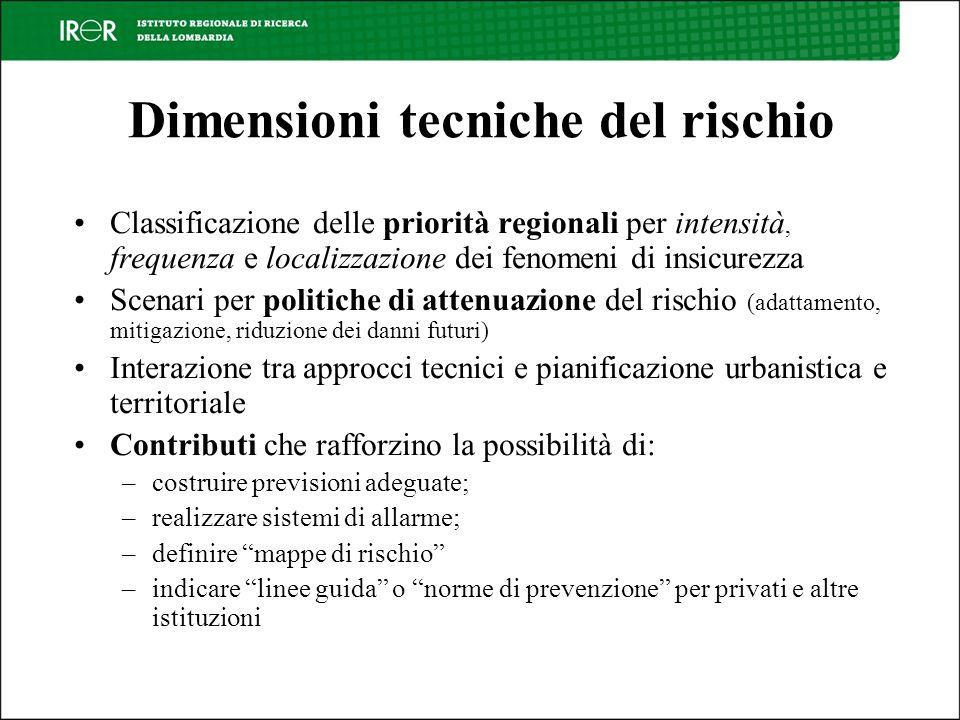 Dimensioni tecniche del rischio Classificazione delle priorità regionali per intensità, frequenza e localizzazione dei fenomeni di insicurezza Scenari