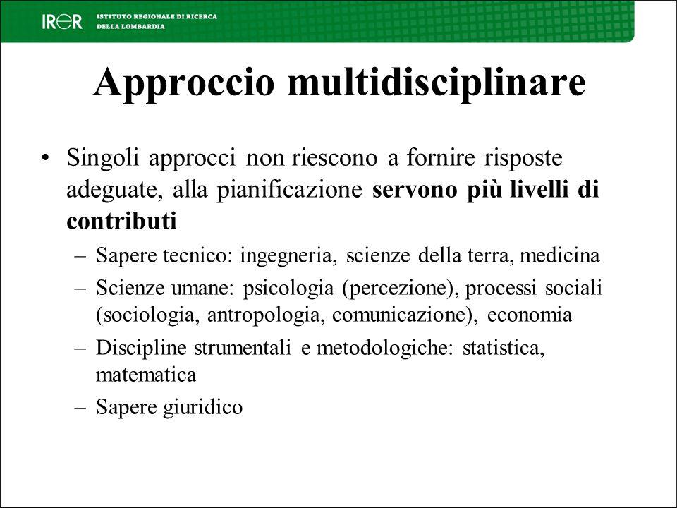 Approccio multidisciplinare Singoli approcci non riescono a fornire risposte adeguate, alla pianificazione servono più livelli di contributi –Sapere t