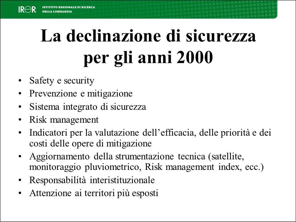 La declinazione di sicurezza per gli anni 2000 Safety e security Prevenzione e mitigazione Sistema integrato di sicurezza Risk management Indicatori p