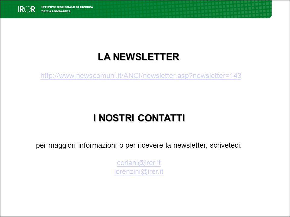 I NOSTRI CONTATTI per maggiori informazioni o per ricevere la newsletter, scriveteci: ceriani@irer.it lorenzini@irer.it http://www.newscomuni.it/ANCI/newsletter.asp newsletter=143 LA NEWSLETTER
