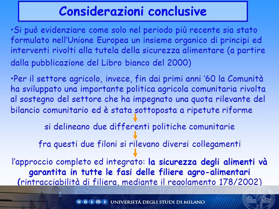 Considerazioni conclusive Si può evidenziare come solo nel periodo più recente sia stato formulato nellUnione Europea un insieme organico di principi