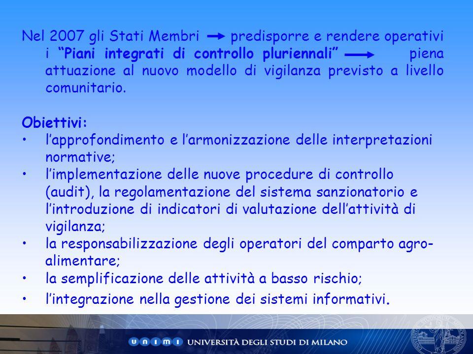 Nel 2007 gli Stati Membri predisporre e rendere operativi i Piani integrati di controllo pluriennali piena attuazione al nuovo modello di vigilanza pr