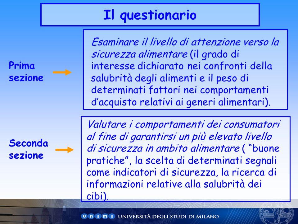 Il questionario Prima sezione Seconda sezione Esaminare il livello di attenzione verso la sicurezza alimentare (il grado di interesse dichiarato nei c