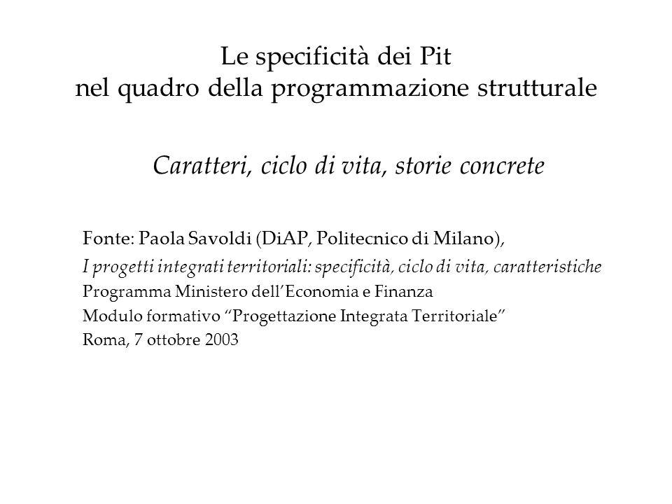 Le specificità dei Pit nel quadro della programmazione strutturale Caratteri, ciclo di vita, storie concrete Fonte: Paola Savoldi (DiAP, Politecnico d