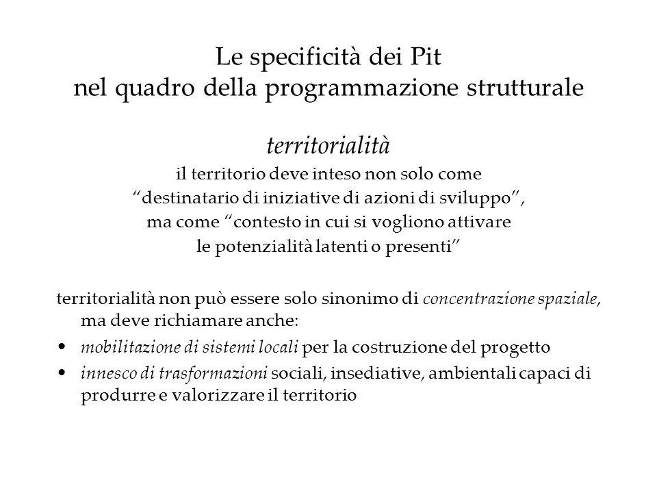 Le specificità dei Pit nel quadro della programmazione strutturale territorialità il territorio deve inteso non solo come destinatario di iniziative d