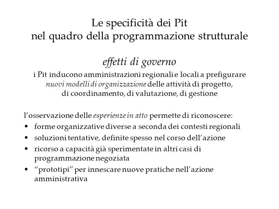 Le specificità dei Pit nel quadro della programmazione strutturale effetti di governo i Pit inducono amministrazioni regionali e locali a prefigurare